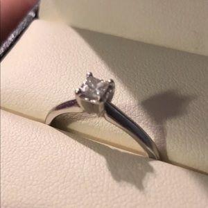 14k Sterling S .2 CT Diamond PC Engage. Ring Sz8